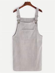 Grey Corduroy Overall Dress With PocketFor Women-romwe