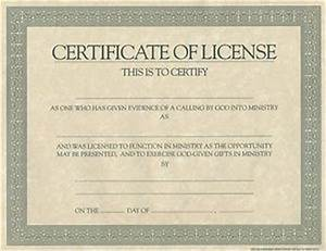 Certificate license for minister cokesbury for Free minister license certificate