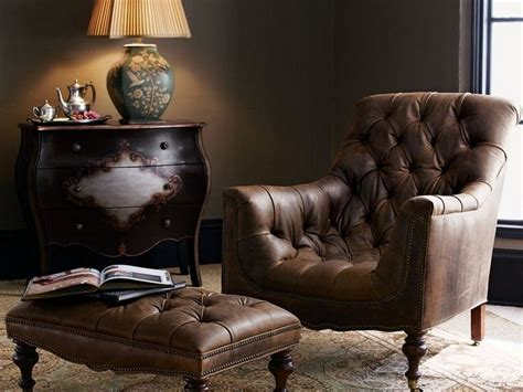 leather chair and ottoman traditional wing back button tufted chair and ottoman