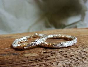 wedding ring set twig band rings sterling silver rustic With rustic wedding rings