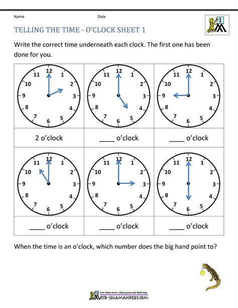 telling time worksheets o clock and half past