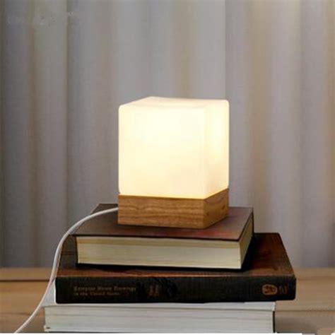 buy modern table lamp wood base  white