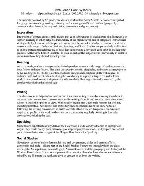 Descriptive Essay Topics For 6th Graders by Alpert 6th Grade Syllabus 13 14
