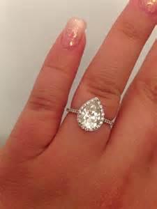moissanite pear engagement ring pear cut 2 carat moissanite and engagement ring weddingbee photo gallery