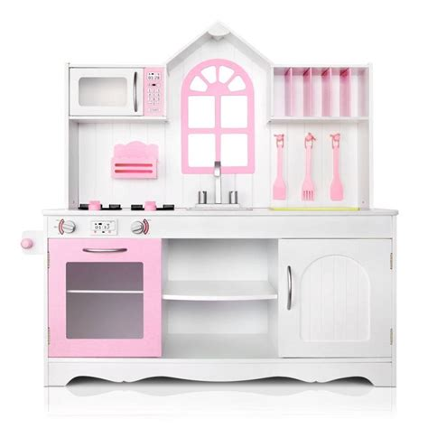 pink princess kitchen accessories keezi wooden kitchen play set white pink buy 4235