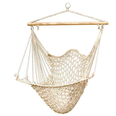 hammock cotton swing cing hanging rope new chair wooden beige white outdoor ebay