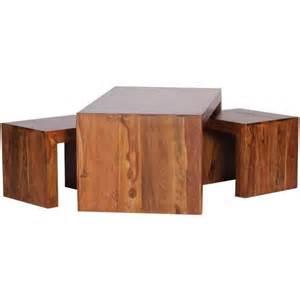table basse en bois massif de palissandre avec 2 tabourets h 40 x l 110 x p 60 cm achat vente