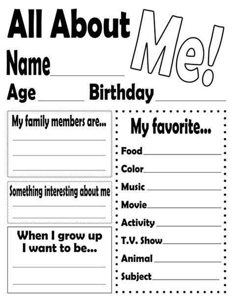 all about me free printable worksheets worksheets