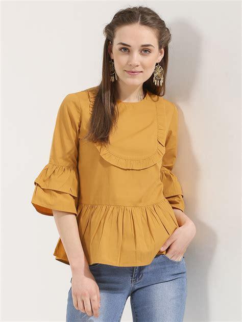 buy ridress peplum ruffle top  women womens yellow