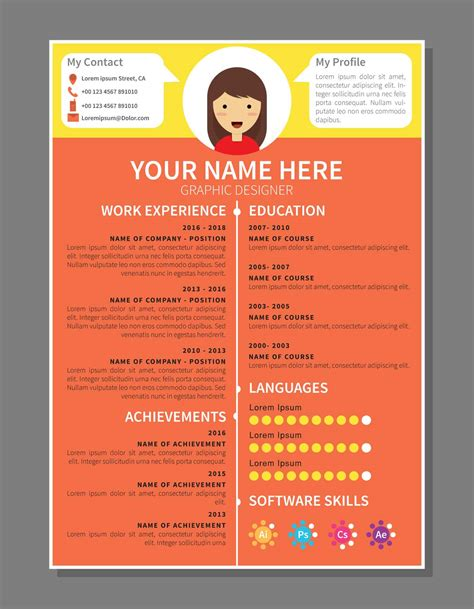 Graphic Designer Resume Template by Graphic Designer Resume Template Free Vector