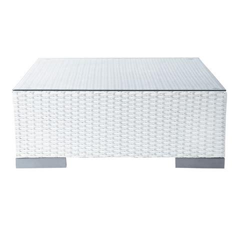 table basse de jardin en verre trempe  resine tressee blanche   cm antibes maisons du monde