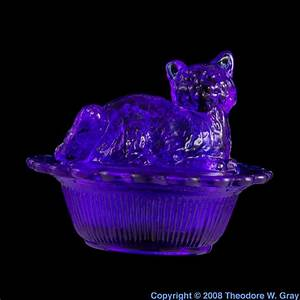 Cobalt-glass cat thing, a sample of the element Cobalt in ...