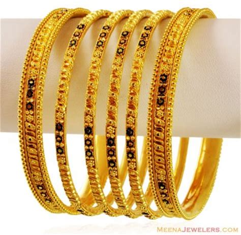 gold meenakari bangles 6 pc bast17117 22k gold bangles set 6 pcs magnificently