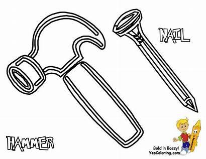 Coloring Pages Tools Construction Nail Nails Hammer