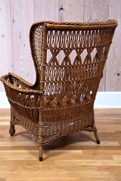 heywood wakefield bar harbor wicker wingback chair at 1stdibs