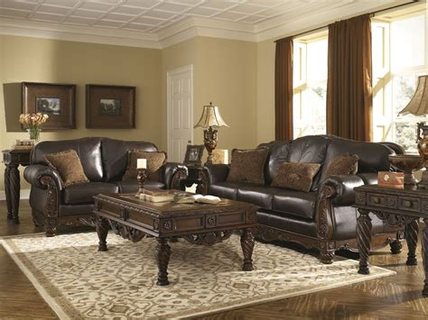 Ashley Furniture North Shore Living Room Set In Dark Brown