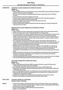 Manager  Marketing Communications Resume Samples