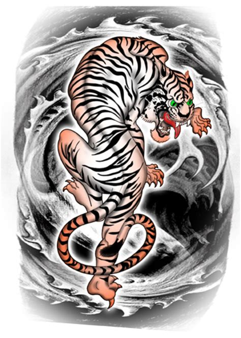 size sheets tiger on waves temporary tattoos