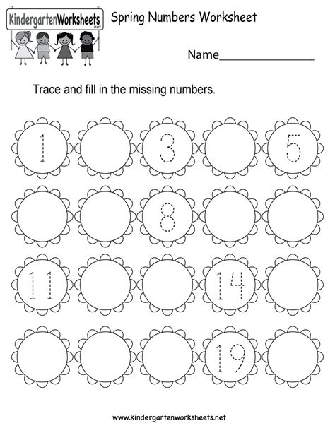 spring preschool worksheets numbers worksheet free kindergarten seasonal 480