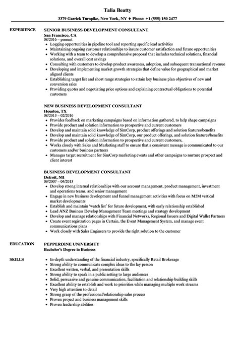 Business Consultant Resume by Sle Business Development Consultant Resume Consultant
