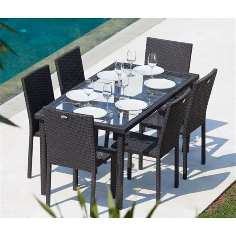 table et chaise de jardin en resine tressee arcachon ensemble table de jardin 6 places acier et résine