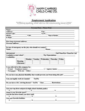 child care employment application form emergency contact form for daycare templates fillable