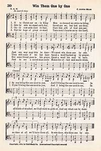 Antique Hymn Printable Music Page - Win Them One by One