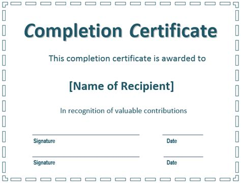 certificate  completion template  printable formats
