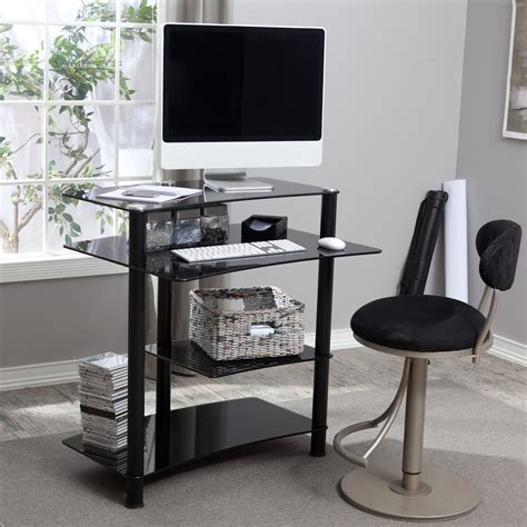 black glass computer desk black glass mini computer desk at hayneedle