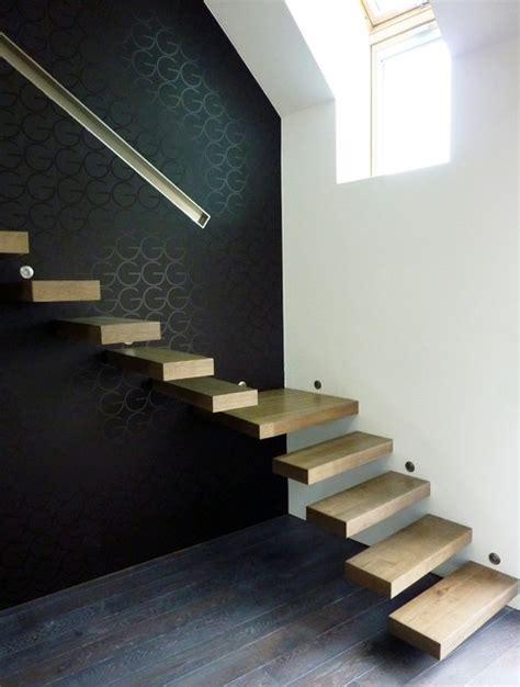 escalier bois moderne suspendu contemporain escalier other metro par la stylique