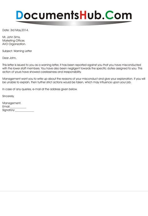sample  warning letter  late attendance printable