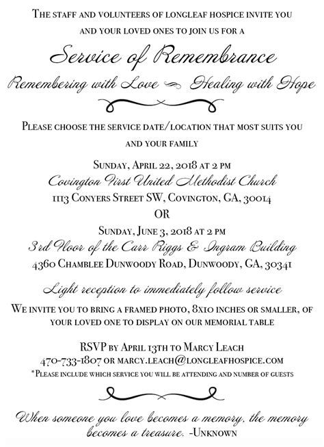For Service by Annual Memorial Service Longleaf Hospice