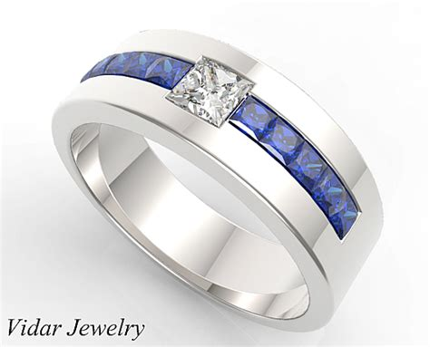 princess cut blue sapphire  diamond wedding band