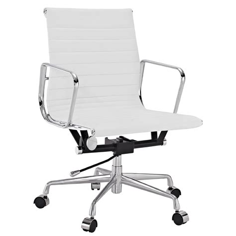 white office chair leather amazon com lexmod ribbed mid back office chair in white
