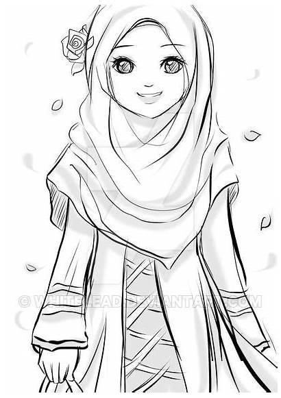 Gambar Kartun Hijab Muslimah Anime Wanita Hitam