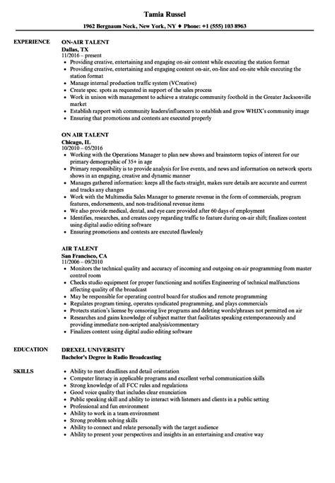 air talent resume samples velvet jobs