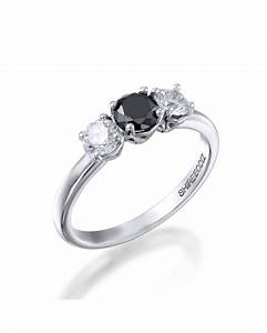 100ctw black diamond trilogy 3 stone engagement ring With black stone wedding rings