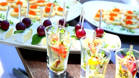 Snacks For Cocktail Party Catering Stock Footage Video