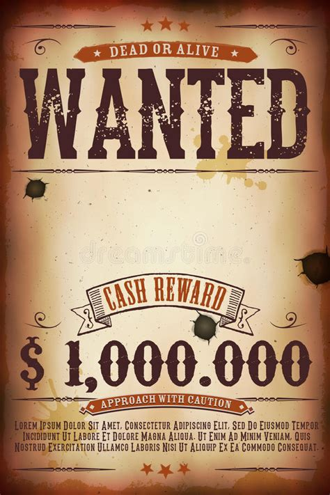 Wanted Dead Or Alive Poster Template Free by Wanted Vintage Western Poster Stock Vector Illustration