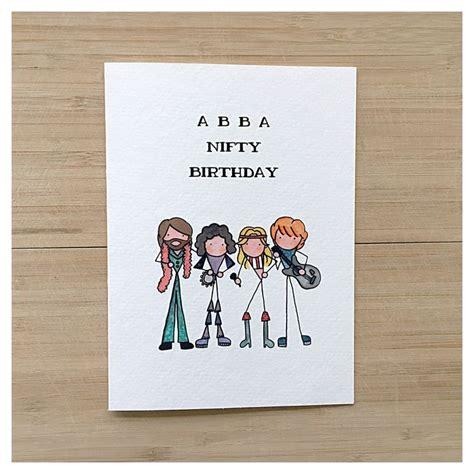 birthday puns abba card birthday card greeting card funny card 50th birthday punny pun card happy
