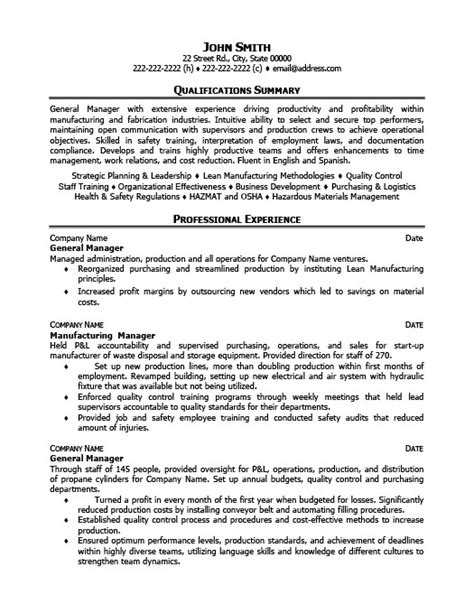 General Manager Resume Template by General Operations Manager Resume Template Premium