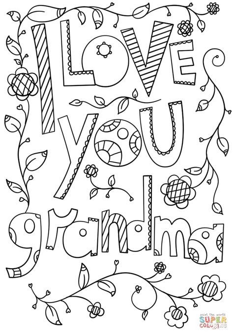love  grandma doodle coloring page  printable coloring pages