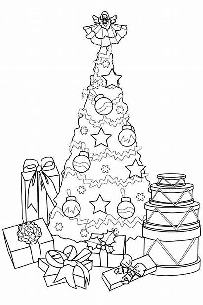 Coloring Tree Christmas Presents Pages Present Drawing