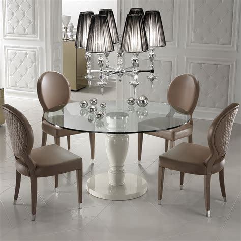 Designer Round Glass Dining Table  Juliettes Interiors
