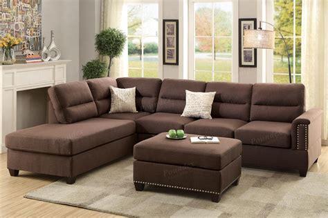 Brown Fabric Sectional Sofa And Ottoman