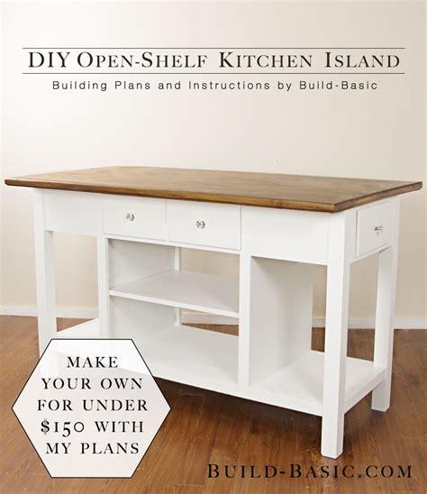 build  diy open shelf kitchen island build basic