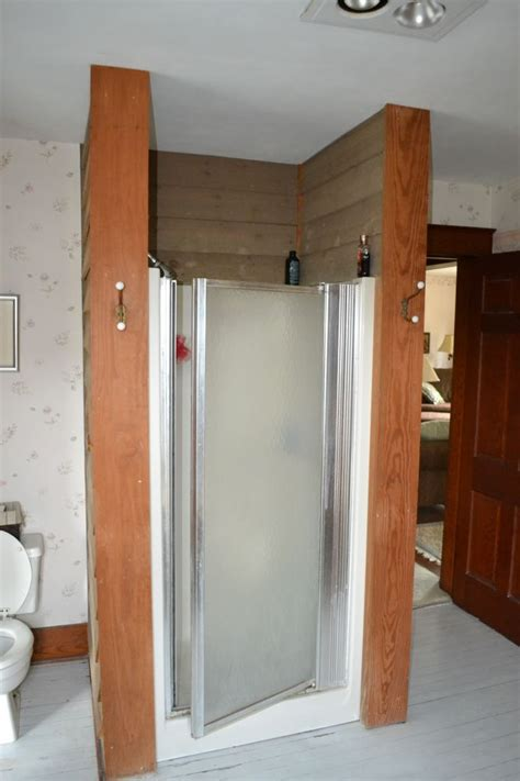 Fiberglass Shower Door by Glass Block Walk In Shower With Diy Interior Shower Wall