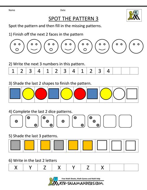 free kindergarten worksheets spot the patterns 364 | kindergarten math spot the pattern 3