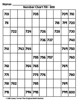 hundreds chart missing number puzzles numbers   tpt