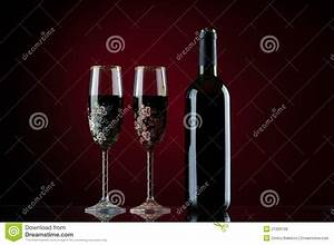 Bottle And Two Glasses Of Red Wine Royalty Free Stock ...